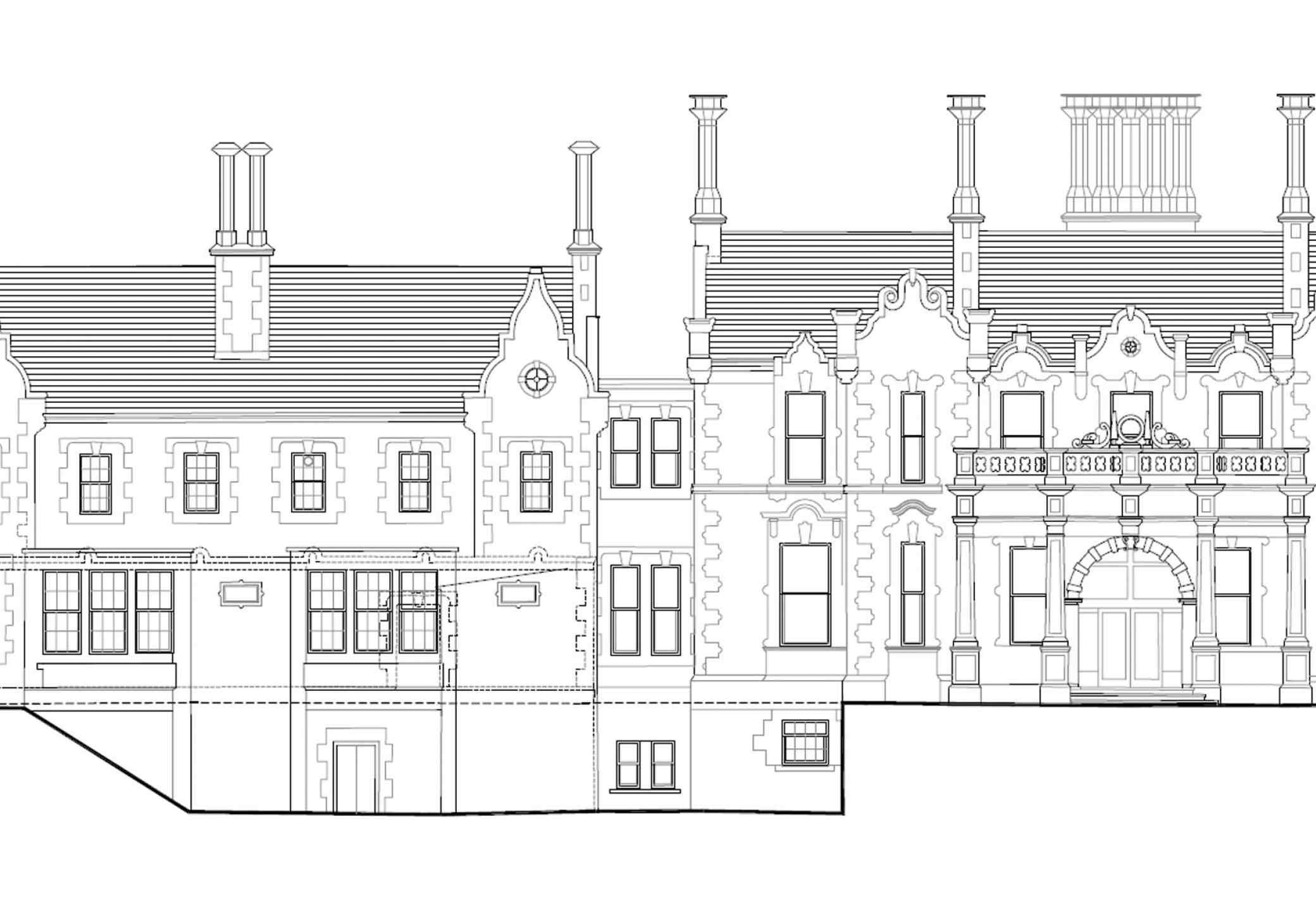 Backford Hall front elevation drawing
