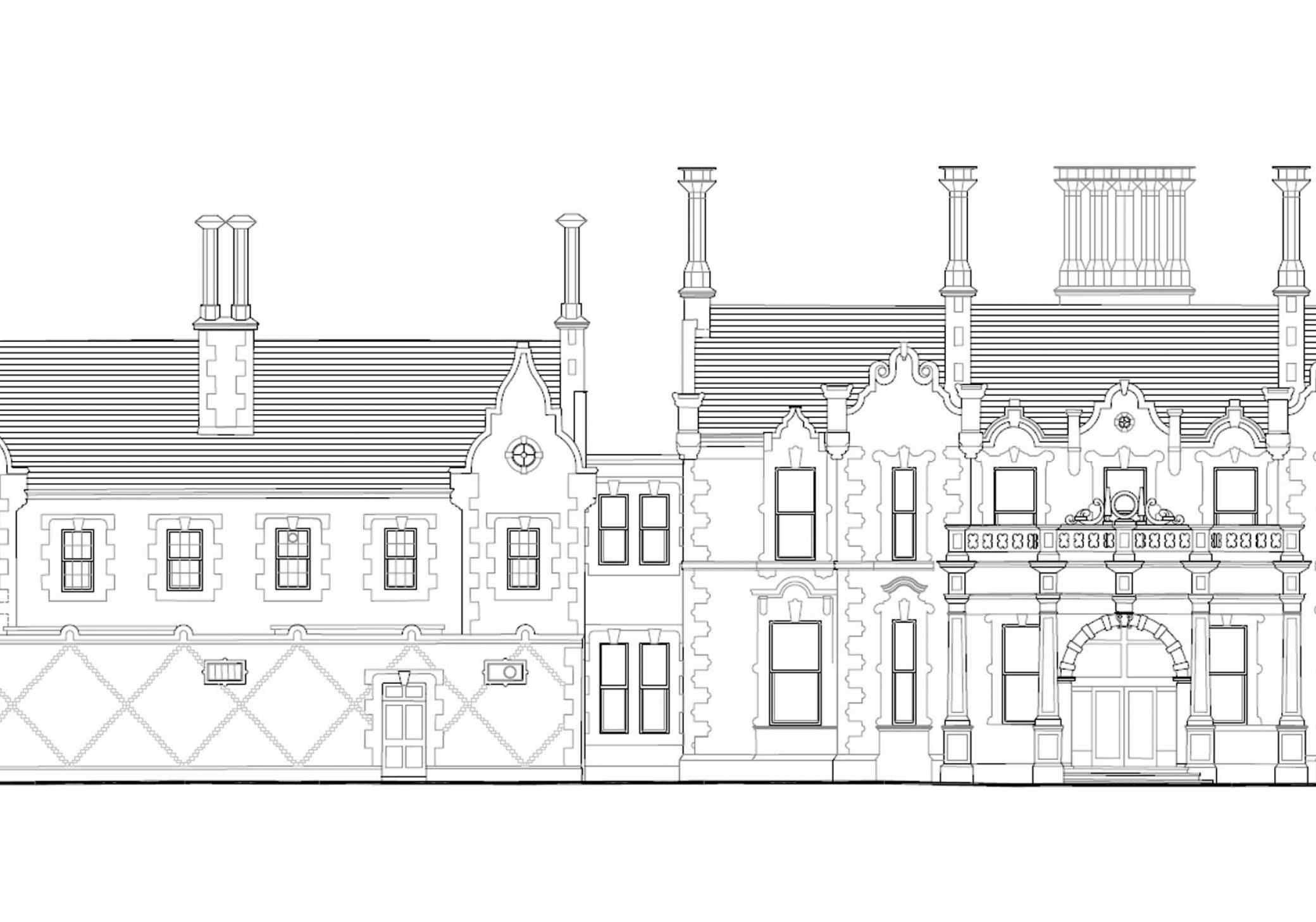 Backford Hall rear elevation drawing