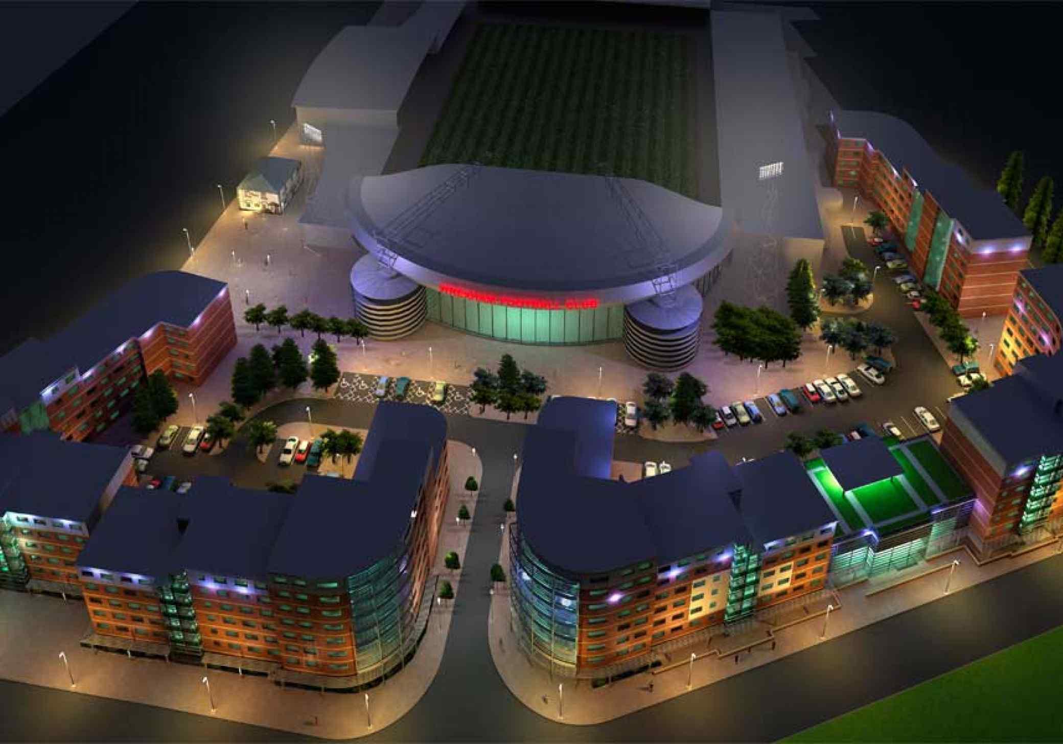 Wrexham Student Village night aerial architectural scheme plan